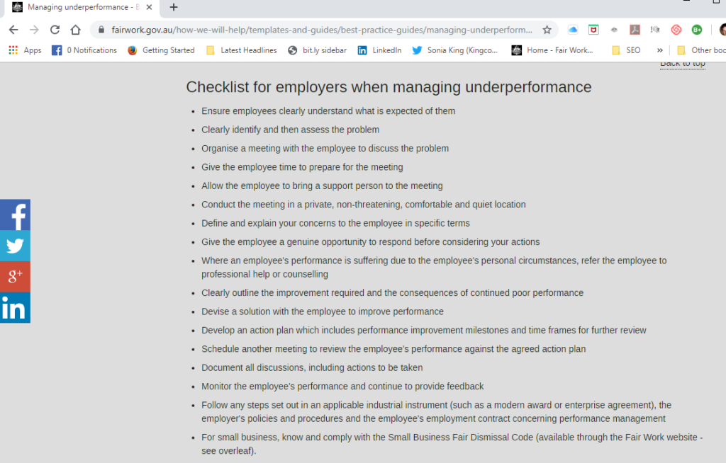 10 ways to comply with FWA Managing Performance Check List