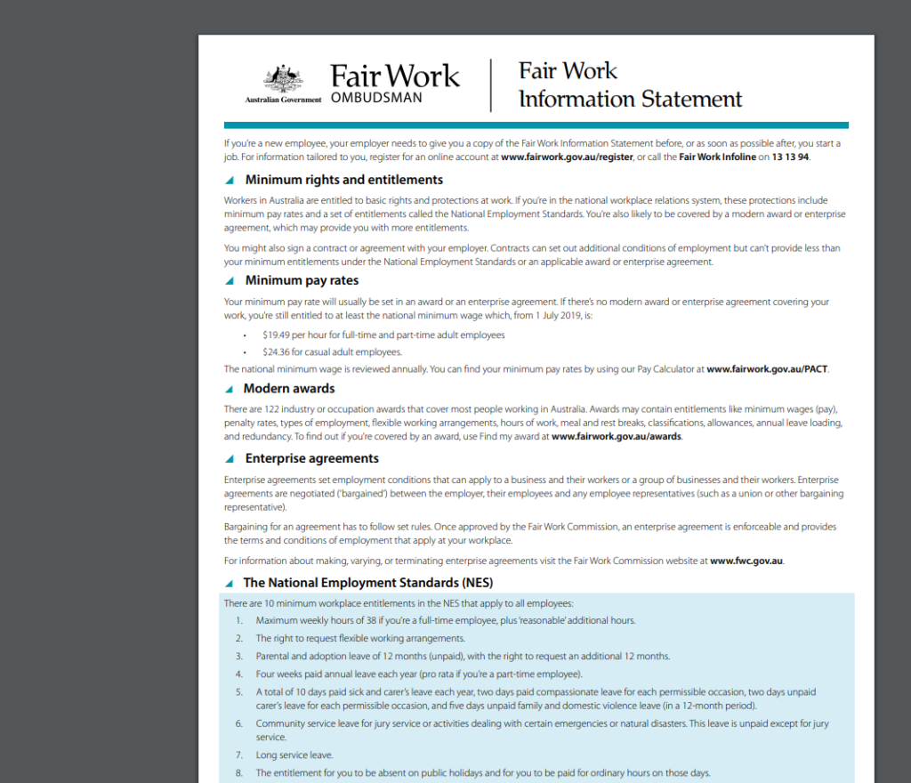 Comply with FWA and provide The Fair Work Information Statement page 1
